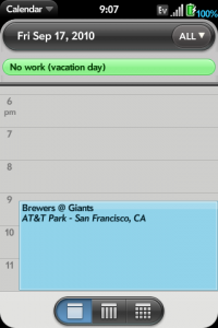 Sports Calendar screenshot of the calendar function