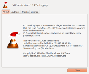 VLC about screen