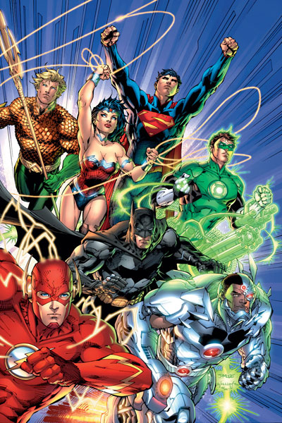 "The New 52 Justice League, from ""Justice League"" #1 (September 2011)."
