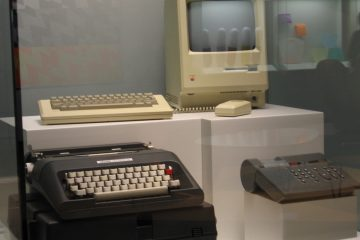 An early Apple Mac on display at the Musée des Beaux-Arts, Montreal