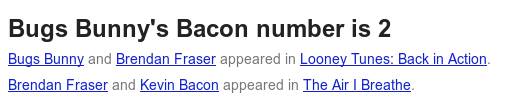 Bacon Number for Bugs Bunny