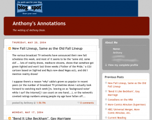 Screenshot of the blog from 2004