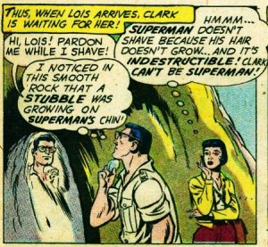 """Possibly the earliest example of Clark Kent shaving. From """"Action Comics"""" #262 (March 1960)."""