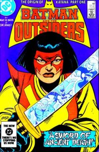 Batman and the Outsiders #11 cover, featuring Katana