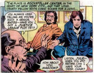 "DC Comics in the 70s, at its one-time Rockefeller Plaza location. From ""Justice League of America"" (vol. 1) #123, Oct. 1975."