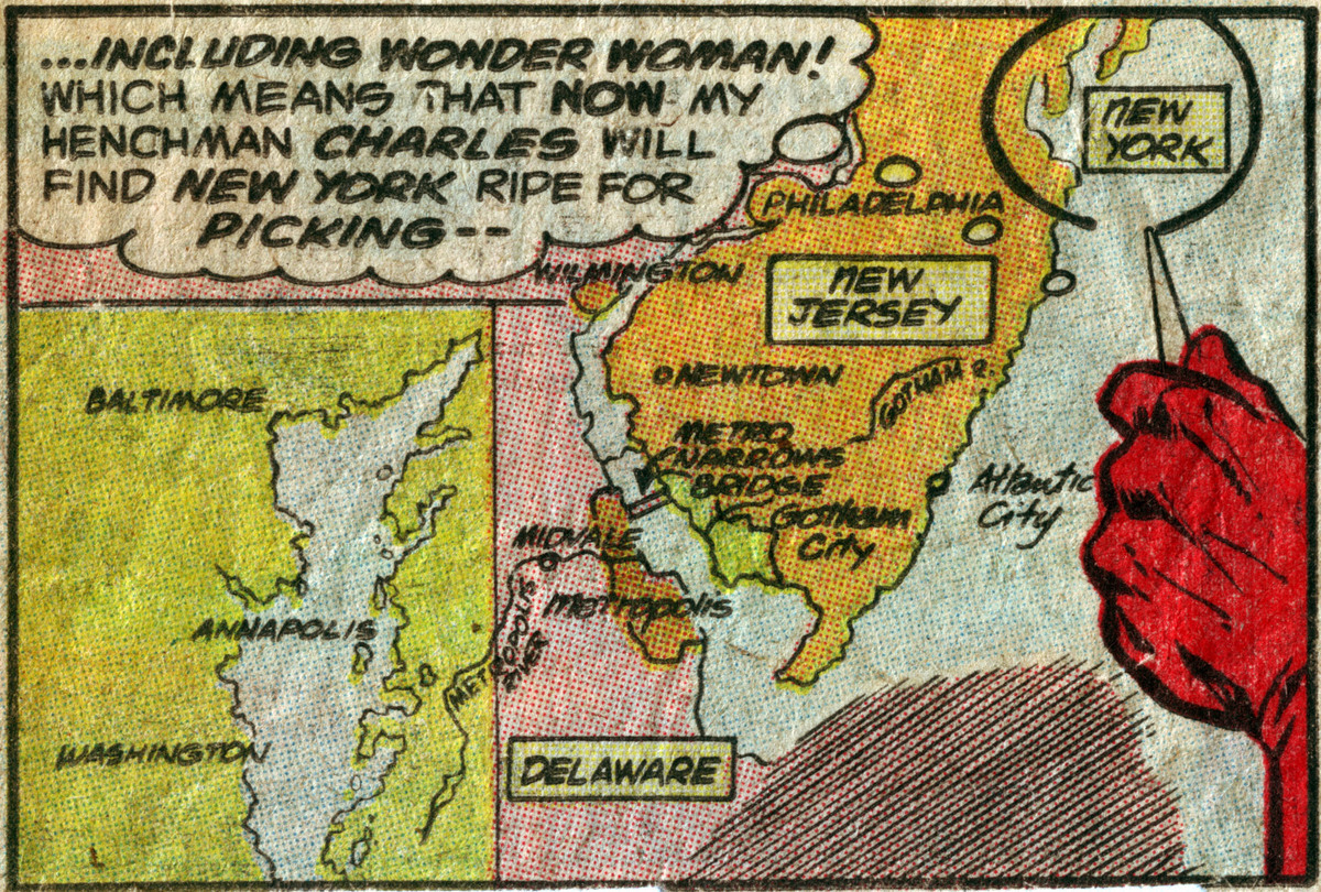 """Earth-1's United States east coast, from the """"Worlds' Greatest Super Heroes"""" comic strip"""