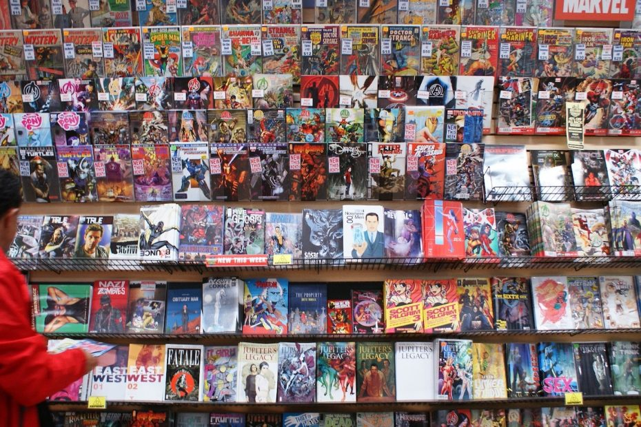 Graphic novels on a wall