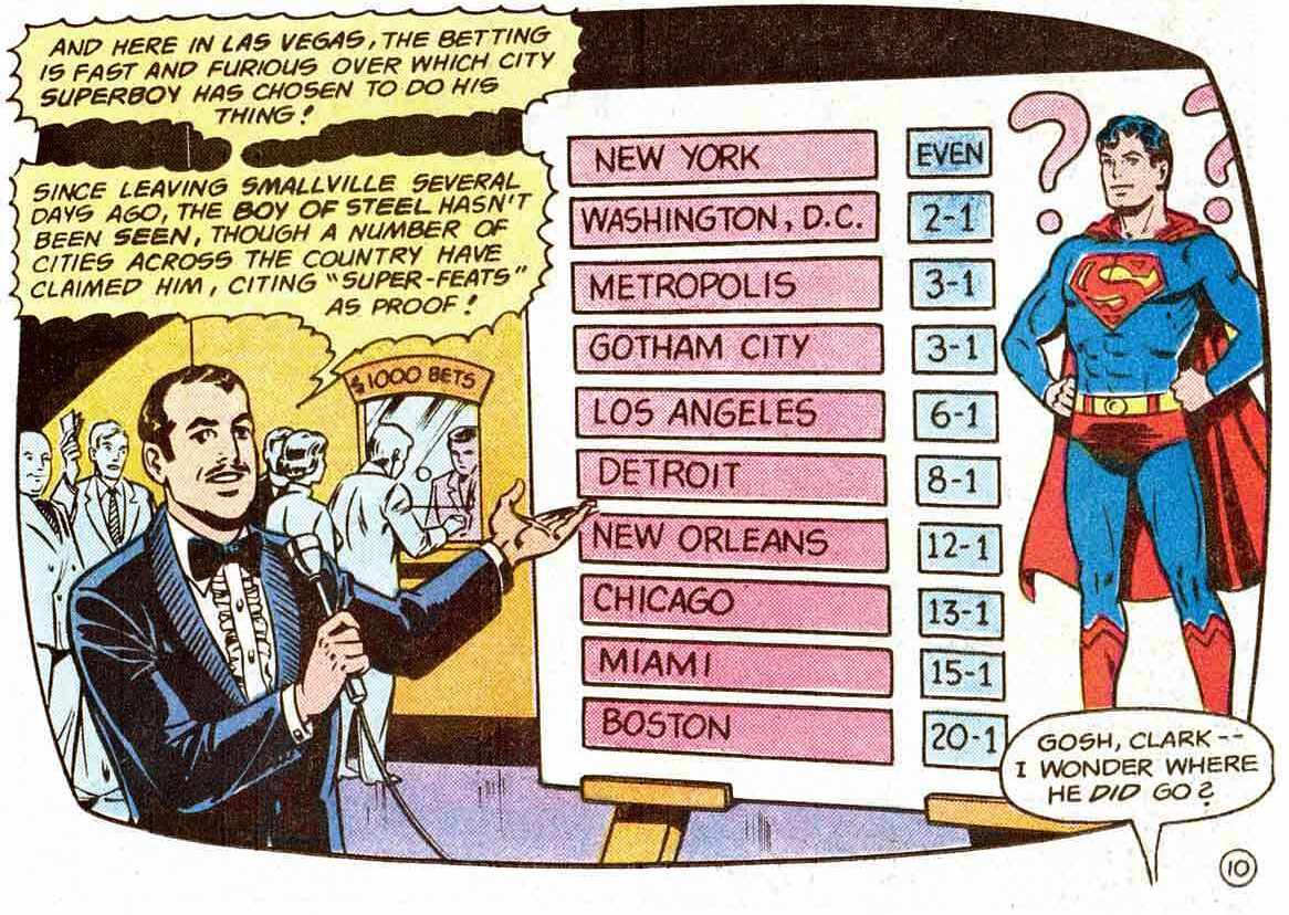 Las Vegas gambling on which city Superboy moved to