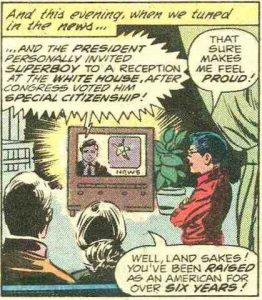 The Kents watching TV, from New Adventures of Superboy #12