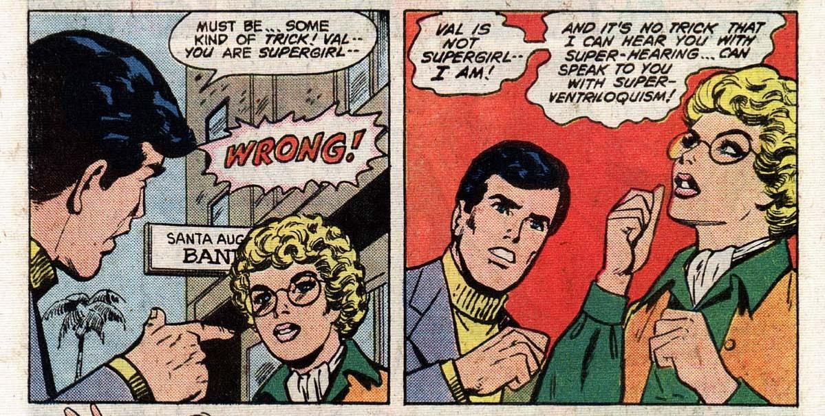 Supergirl using super-ventriloquism, Superman Family #202