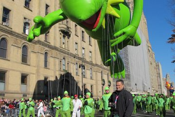 Kermit the Frog balloon at Macy's Thanksgiving Parade