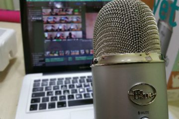MacBook laptop with a microphone