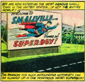 Superboy billboard outside Smallville