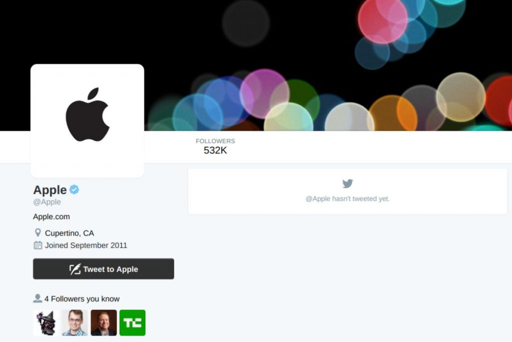 Apple's empty Twitter feed