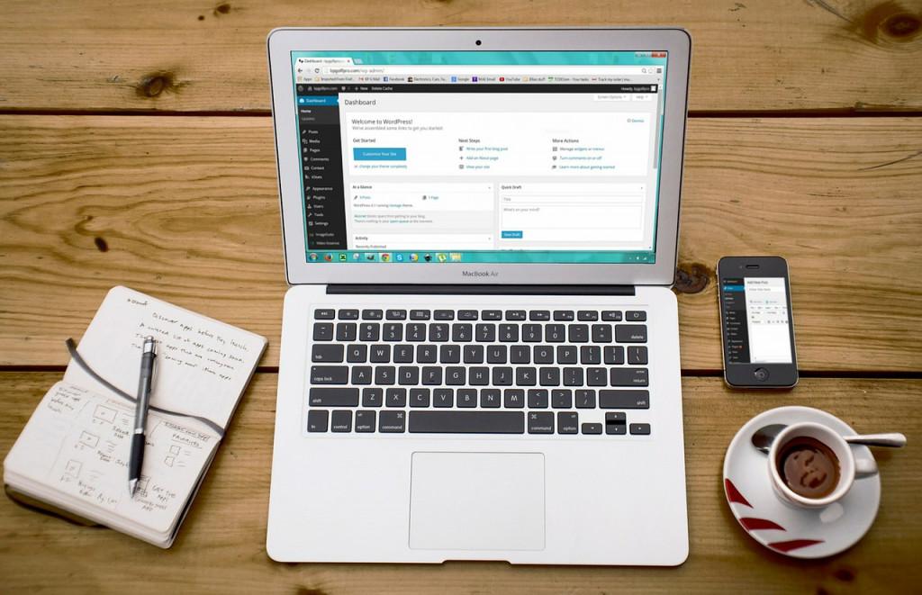 WordPress on a laptop