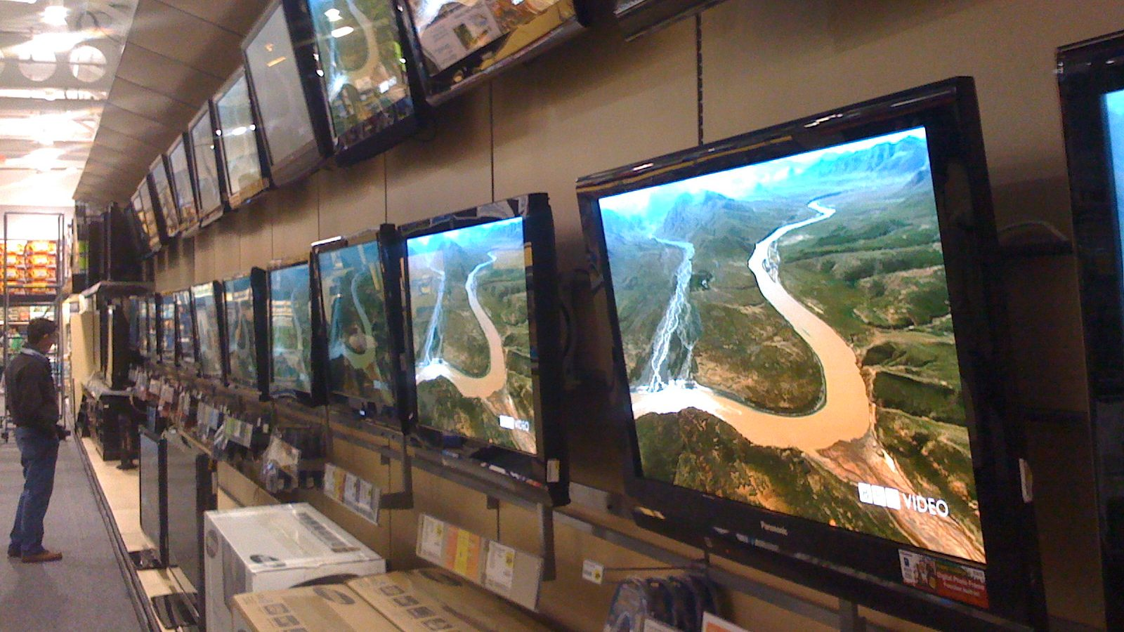 Wall of TVs at Best Buy