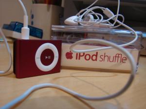 A red iPod Shuffle