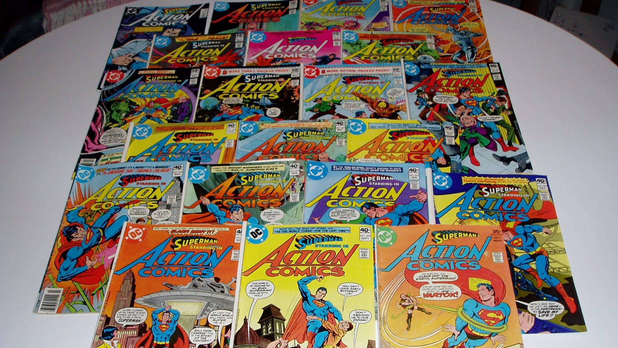 "Pile of Bronze Age ""Action Comics"" with Superman"