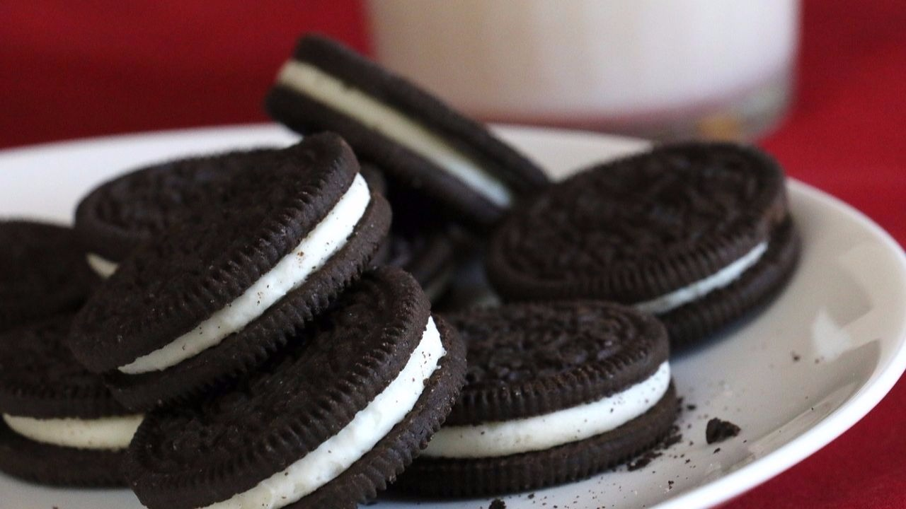 Oreos on a plate with milk