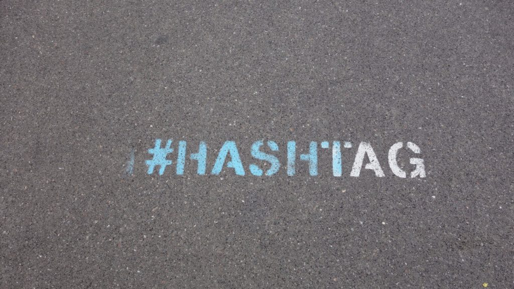 Hashtag on asphalt