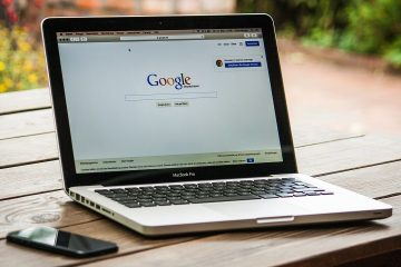 MacBook laptop with Google