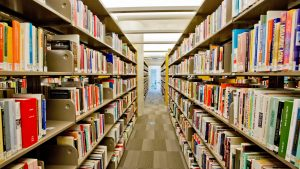 Vancouver public library book shelves