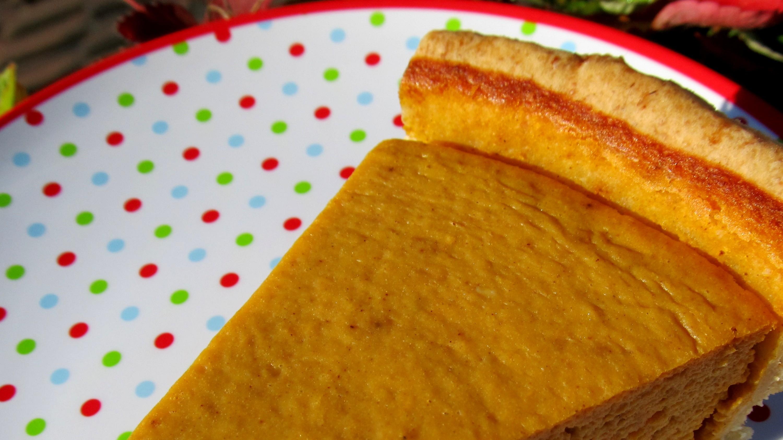 Sweet potato pie slice on a plate