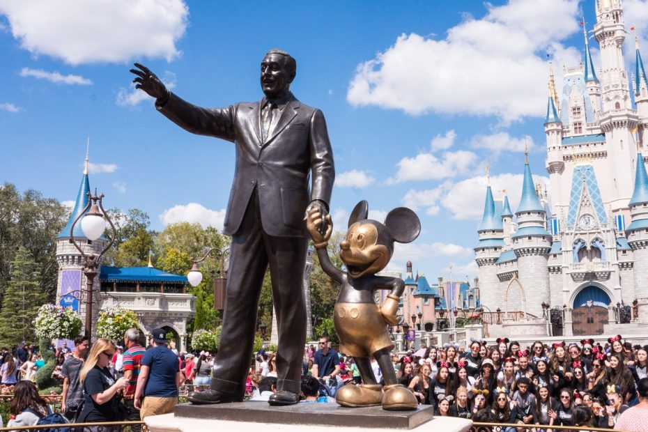 Walt Disney and Mickey Mouse statues