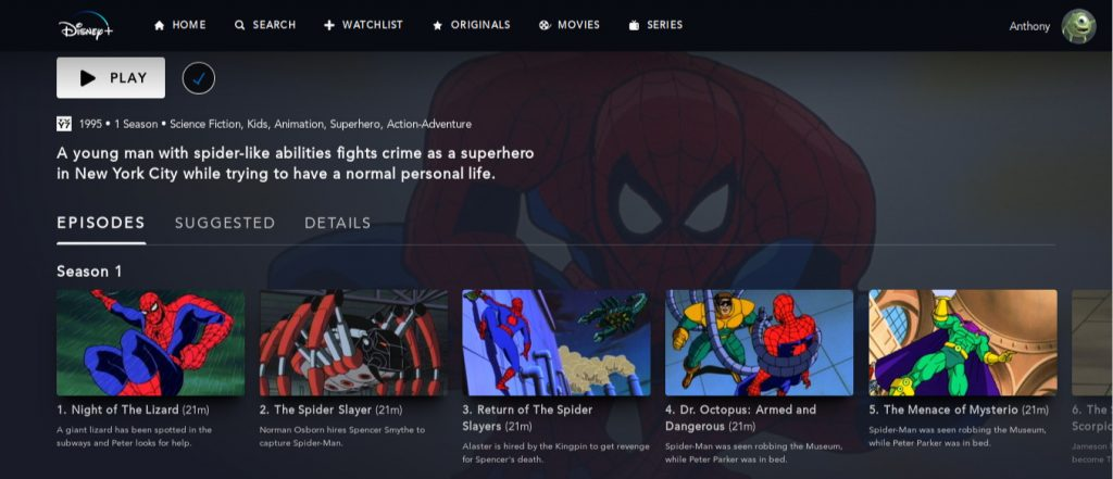 Disney+ screen for the 90s Spider-Man cartoon