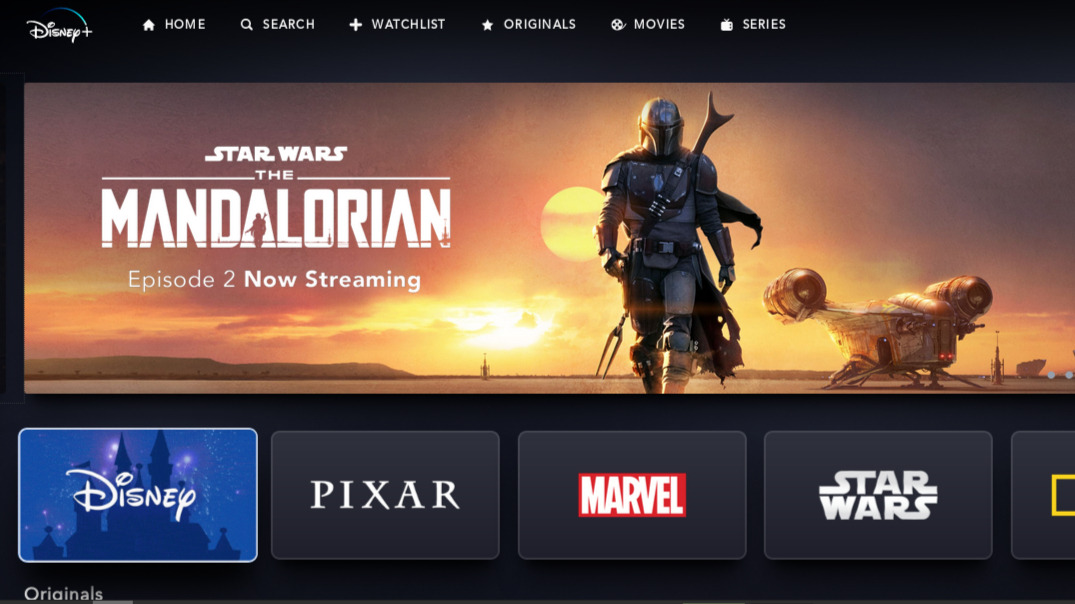 Disney+ screenshot featuring The Mandalorian