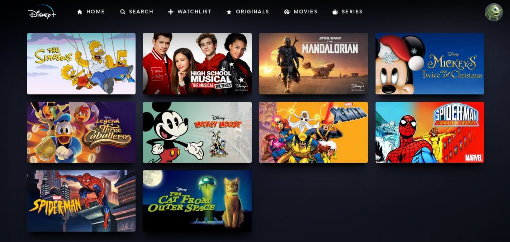 Screenshot of the Disney+ watchlist screen