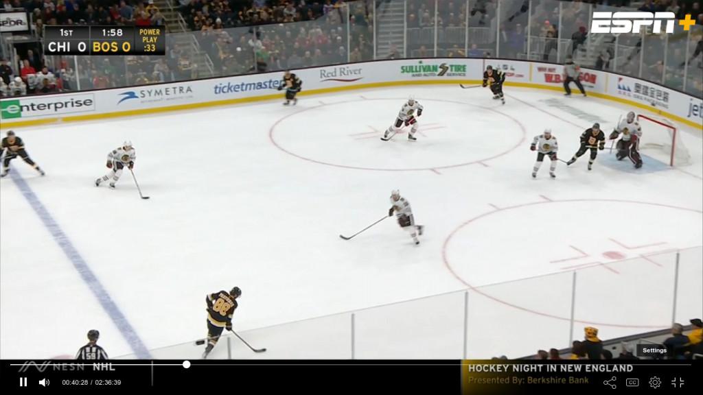 Chicago Blackhawks versus Boston Bruins on ESPN+