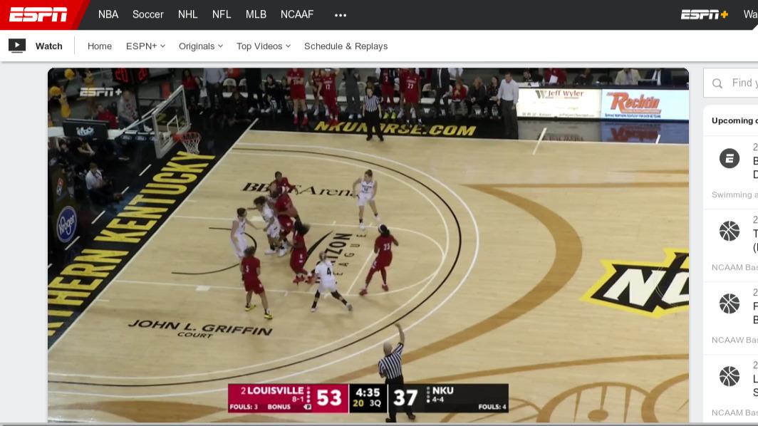 ESPN+ NCAA women's basketball broadcast