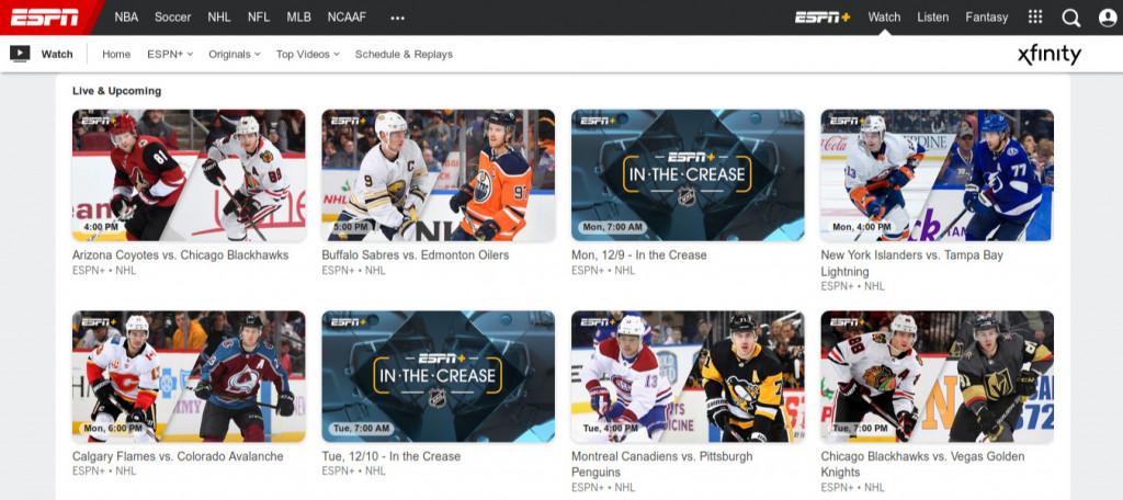 ESPN+ NHL main screen