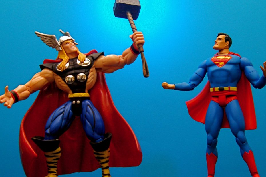 Thor and Superman figures