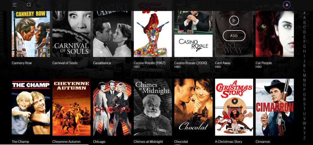 HBO Max's Turner Classic Movies category