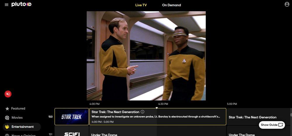 Pluto TV screenshot