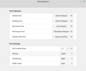Linux Mint font manager