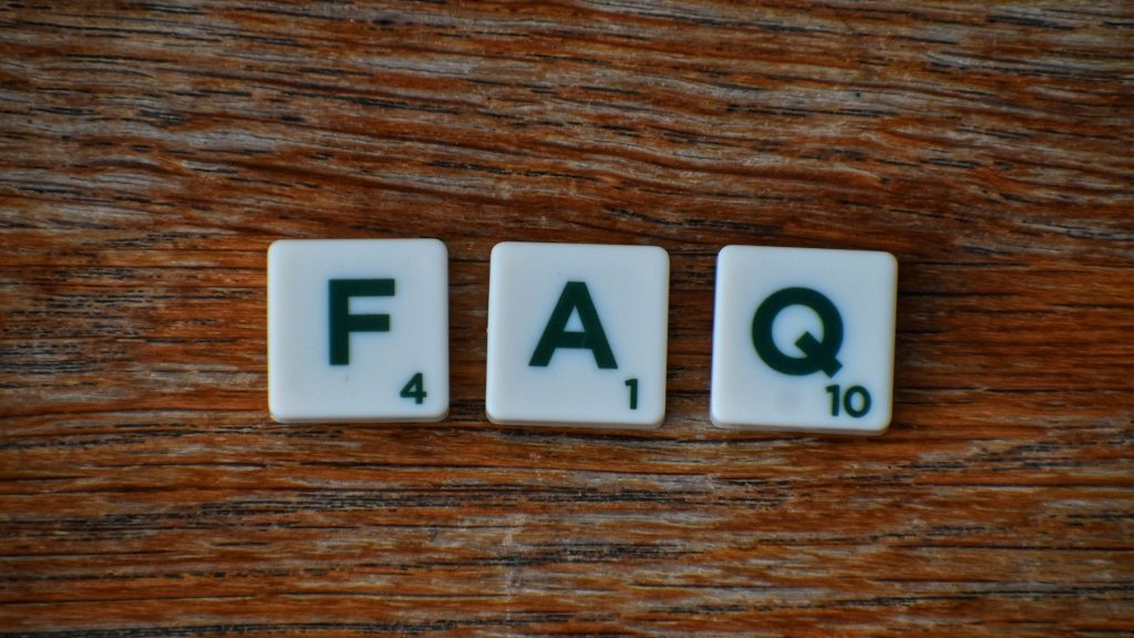 FAQ as Scrabble tiles