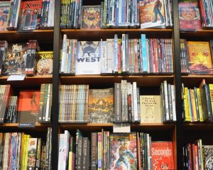 Graphic novels in a bookcase