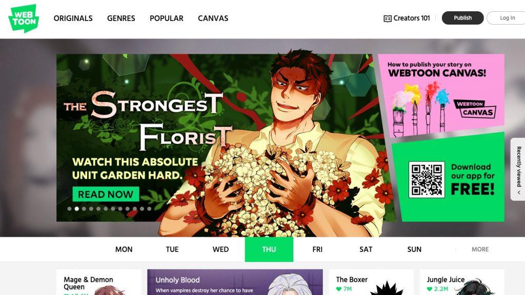 Webtoon main page
